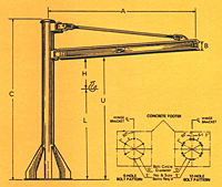 Dimensional Drawing for Model 600 BPM Base Plate Mounted Jib Cranes